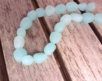 20 ea. Large Milky Aqua Frosted Glass Freeform Pebble Bead 7-10mm