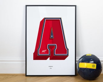 A is for Arsenal, Football Typography Print