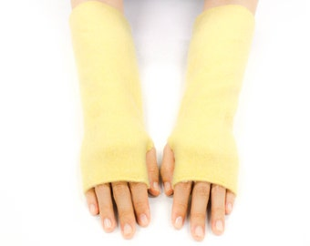 Cashmere Fingerless Gloves, Handmade Soft Felted Cashmere, Upcycled Cashmere Arm Warmers, Texting Gloves, Womens Gloves, Sunshine Yellow