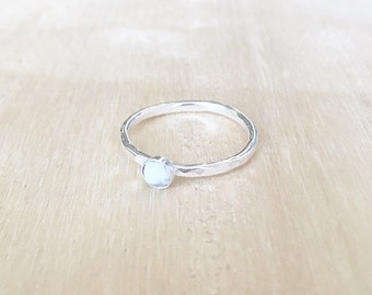 Tiny hammered howlite ring, hammered ring, sterling silver ring, stacking ring, white marble ring, howlite