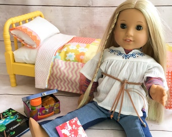 American Girl Doll Quilt -repurposed vintage fabric, Heather Bailey - quilt, pillow and case - American Girl Doll Bedding, Doll Quilt