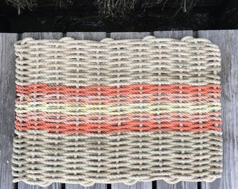 Recycled Lobster Rope Doormat, Handwoven in Maine: Opechee Sunset