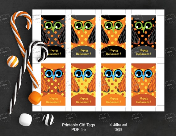 Owl Halloween Tags - editable text - printable favor tags - edit text yourself - black orange polka dot owls - rectangular