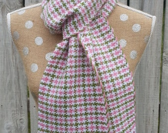 Scarf, Handwoven Houndstooth Scarf in Pink, Green and White