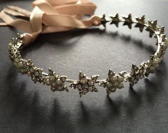 Lovely Rhinestones and Pearls Stars Bridal Bridesmaids Swarovski crystals Hair Headband Tiara