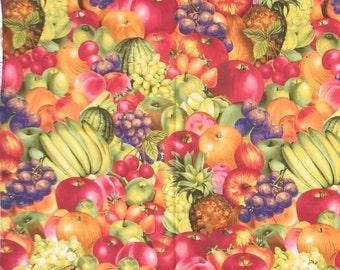 50% SALE- Fruit Fabric, Pineapple, Strawberries, Grapes, Bananas, Apples Cherries, Watermelon,Plums.