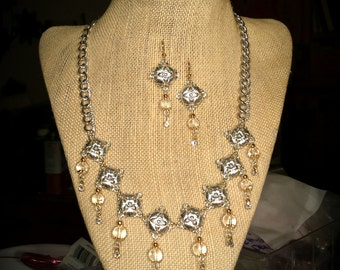 Gold and Silver 18 Inch Necklace with Matching Earrings Silver Decorative Links with Dangling Quartz Crystals & Swarovski Crystals Necklace