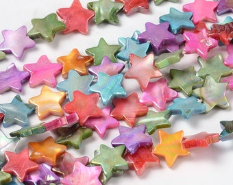 Shell beads, stars, rainbow, 35 pieces