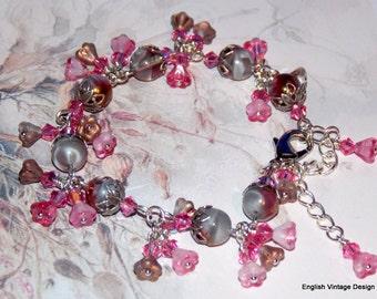 Czech Glass Bracelet, Vintage Style Bracelet, Pink and Grey Bracelet, Victorian Bracelet, Boho, Handmade Bracelet, Swarovski Crystal