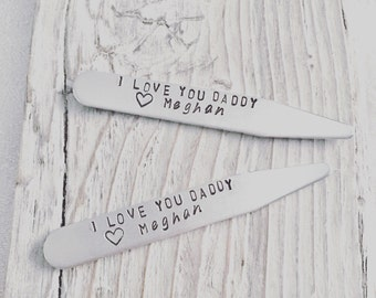 Pair of Collar Stays - Hand stamped, personalized collar stays