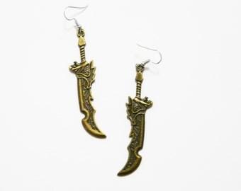 Sword Earrings Anime Girl Gang Kawaii Nerd Gamer Jewellery Samurai Jewelry Stainless Surgical Hooks or Silver Plated