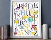 Outer Space Alphabet Poster - Rocket Poster, Alphabet Poster, Playroom Poster, Alphabet Wall Art, Alphabet Nursery Art, Nursery Art, 22-0042