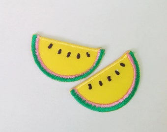 "Set of 2 Yellow Watermelon Fruit Iron on Patch Applique (1 1/4"" x 6/8"")"