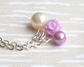 Flower girl necklace, Purple pearl necklace, Rose necklace, Pearl necklace, Flower girl gift, Purple rose necklace, Flower girl jewelry