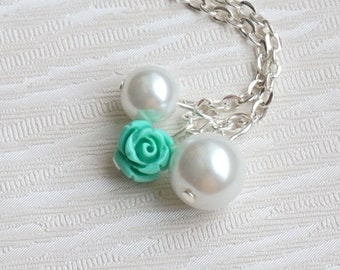 Flower Girl necklace, Mint necklace, Flower necklace, Flower Girl jewelry, Pearl necklace, White pearl necklace, Rose necklace