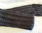 Men's Big and Tall Dark Gray Cable Scarf