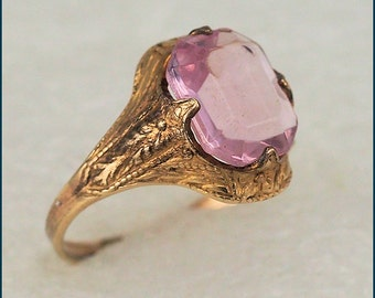 ON SALE Vintage Art Deco 1/30th 14 kt gold filled Clark & Coombs Pink Stone Ring