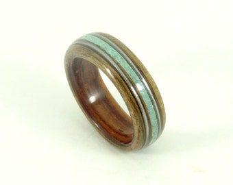 Wood Rings, Wooden Rings, Mens Wood Rings, Wooden Wedding Rings, Bent wood Rings, Musician Gift, Kingwood, Olive, Turquoise + Guitar Strings