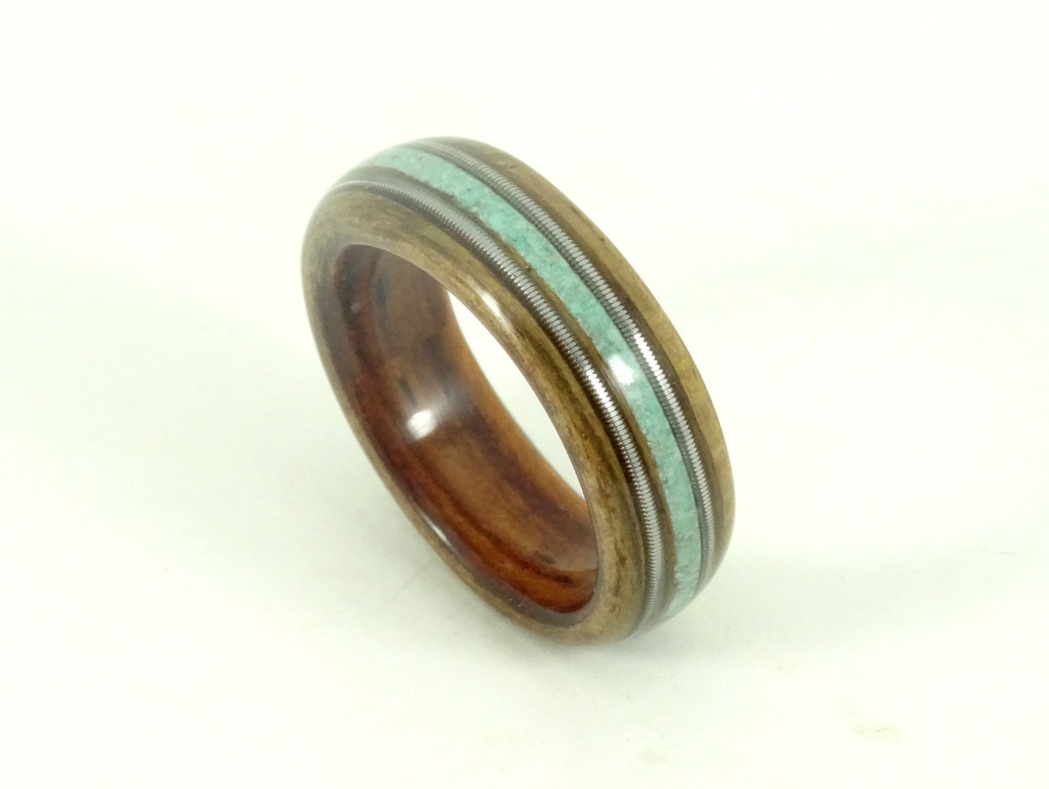 turquoise engagement ring turquoise wedding ring Wood Rings Wooden Rings Mens Wood Rings Wooden Wedding Rings Bent wood Rings Musician Gift Kingwood Olive Turquoise Guitar Strings