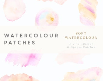 Watercolour Patches - Soft Watercolour - Design Resource - printable, commercial use