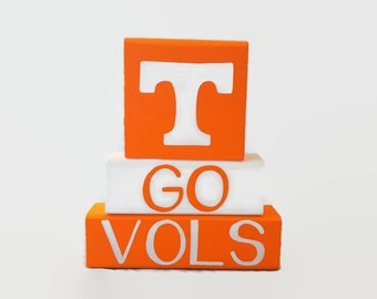 Tennessee Volunteers Power T Vols Orange Football WoodenBlock Shelf Sitter Stack