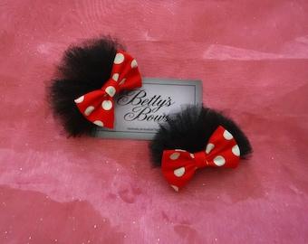 Minnie Mouse hair clips - minnie mouse ears