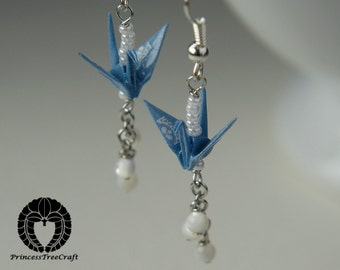 Origami Jewelry, Origami crane earrings with mother of pearl - Pastel blue
