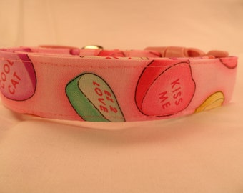 Dog Collar Conversation Hearts on Pink