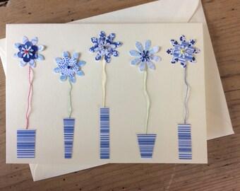 5 flowers blue