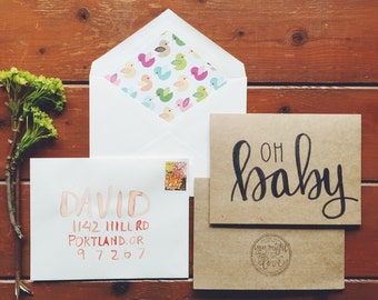 hand-lettered oh baby card