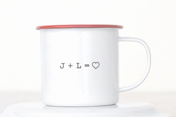 Personalized enamel mug... Custom enamelware mug Valentine's Day gift idea, gift for wedding, or engagement gift