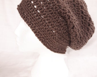 Slouchy hat, Brown Crochet Hat , Taupe Hat, Brown woolly slouch hat-Teen/Adult size