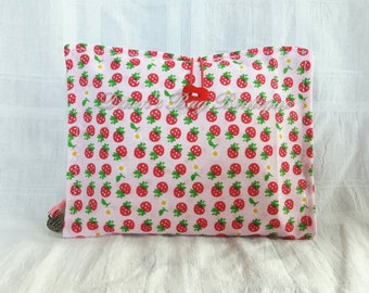 Sanitary Pad holder, Sanitary pad pouch, Sanitary towel case, Sanitary pouch, Strawberry print fabric sanitary pad holder