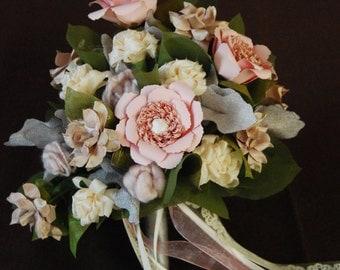 Wedding Bouquet; Paper Flowers; Fabric Flowers; Alternative Wedding Bouquet