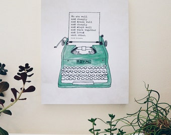 Wood Panel - Wall Art - Ready to Hang - Royal Typewriter - Hemingway quote - A Moveable Feast - gift for writers
