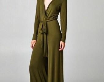 Army Green Jumpsuit, Olive Green Jumpsuit, Green Jumpsuit, Wrap Style Jumpsuit, Comfortable Jumpsuit, Boho Jumpsuit, Resort Jumpsuit