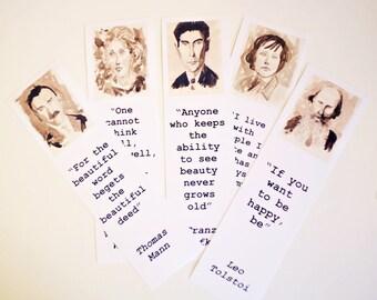 Authors bookmarks set Thomas Mann Virginia Woolf Tolstoi Kafka Carson McCullers bookmarks art literature bookmarks SEPIA PICS