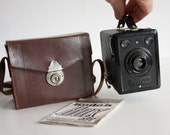 Kodak Box 620, Antique Box Camera, 1930s Camera Collectible, Gift for Photographers, Black Leather