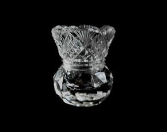 A vintage cut glass toothpick holder