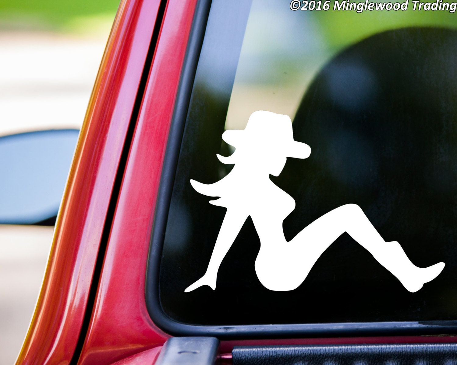 Mudflap Cowgirl Trucker Girl Lady Country Truck Vinyl Decal