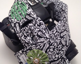 Black and White Damask with Green Flower - Monogrammed DSLR Camera Strap Cover with Lens Cap Pocket