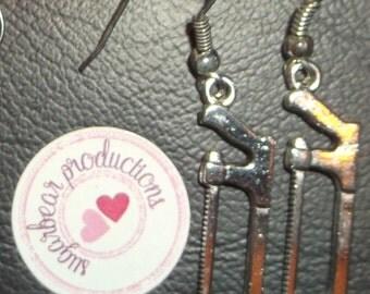 Silver Hacksaw dangle earrings, on silver french hooks