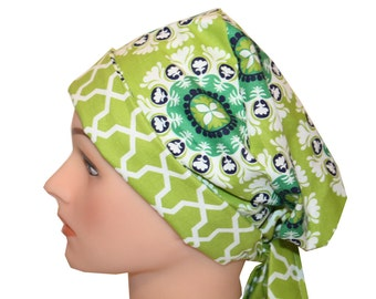 Scrub Hat Surgical Cap Chemo Chef Nurse Doctor Vet Hat Flirty Front Fold Pixie  Lime Green White Medallions   2nd Item Ships FREE