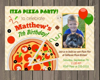 Pizza Party Invitation, Pizza Party Birthday Invitation, Make your own Pizza Party, Printable or Printed