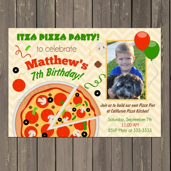 Pizza party invitation pizza party birthday invitation make your il570xn stopboris Image collections