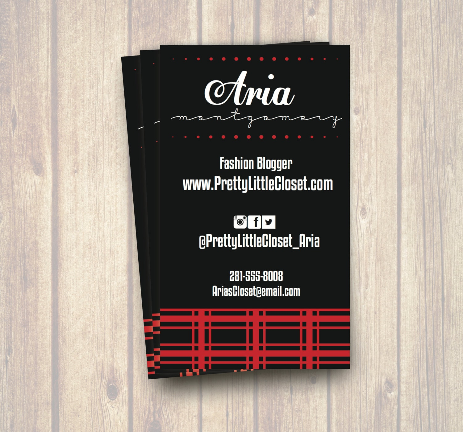 The Aria Fashion Blogger Business Card Printable