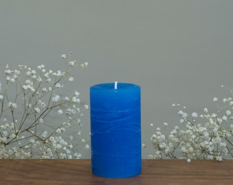 """Blue Rustic Candle - 2 x 3"""" - Unscented Blue Candles - Wedding Party Favor - Pillar Candles - Small Gift - Garden Decoration"""