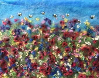 Meadow,Bees,Wildflowers,Countryside,Nature,Poppies,Wool,Felt,Landscape,Picture,Art,Embroidery,Home Decor,Textile Art,Fibre Art,Mohair