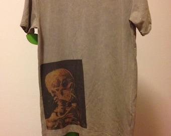 T-shirt handmade con teschio,with skull...