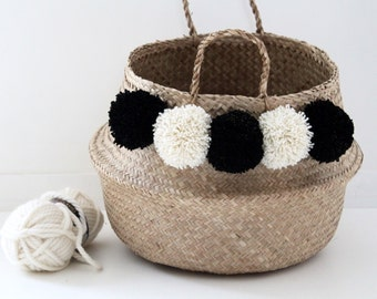 Large Thai basket with PomPoms black and off-white Golden